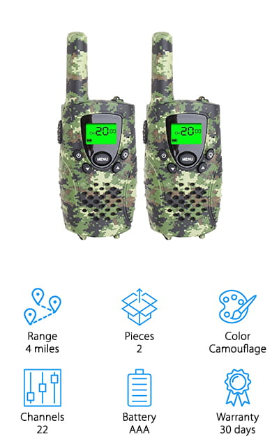 E-wor's Walkie Talkie set has an amazing 4-mile range! That's incredibly impressive and will let your older child wander a little further. Both of you are happy! They come in cool camouflage, so they're stylish as well. It functions on a push-to-talk button, so you won't hear every little aspect of your child's playtime or exploring. There are 22 channels that you can use to keep track of your kids, and you're able to lock the units to a specific channel so they don't accidentally change it. They are durable as well as lightweight, easy to carry and they don't even have to be carried! They also come with a belt clip so your kids can keep them close and still use their hands. By the way, they fit perfectly in your child's hands! These will be your kids best walkie-talkies for years to come! You can even buy more than one set for more fun!