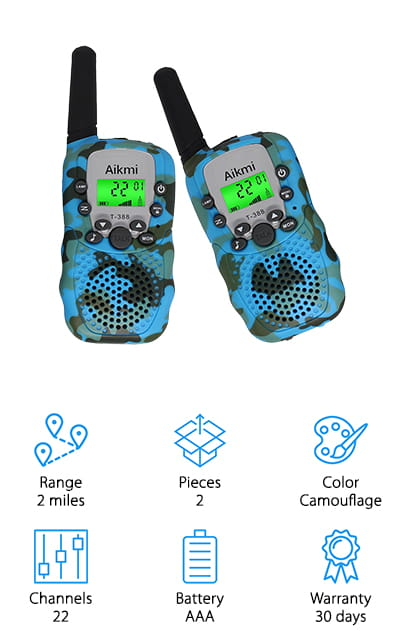 Aikmi makes some of the best rated walkie-talkies for kids! These particular radios come in camouflage blue, which is really cool and unique on our list. It's a two-way radio that you can use for outdoor activities or just outside playtime in your neighborhood. They won't lose service like cell phones will, so they're perfect for places where there's less signal. Your child and their friends can use them for pretend play! There are even private communication channels you can use with these radios so no one can break into your connection. It makes a great gift, and if they don't love it? There's a 100% money back guarantee. We are sure that your family will love them! It will ease your mind when your child is out playing to know that you have a sure way to get ahold of them. It's even great for pretend play in the backyard. These walkie-talkies have so many uses!