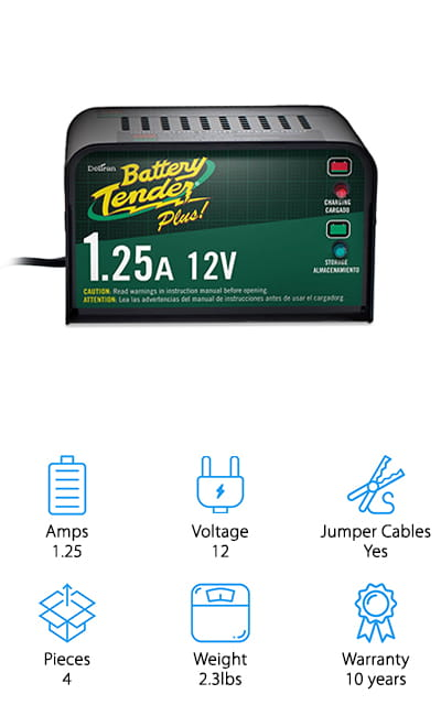 What is the best car battery charger? You will have to decide for yourself, but this one is definitely a good option. The Battery Tender Plus Charger independently switches between charging mode and monitoring mode, so you won't have to worry about remembering to shut it off or checking if the battery is charged. It protects against reverse-polarity, and chargers up your battery quick enough to make you look twice. The AC power cord to charge the unit is six feet long, so you won't be limited by space! It maintains your car's battery at storage voltage without damaging it at all! It even comes with a quick connect harness for the harder areas to reach, so it isn't so difficult to get it done! Includes are the alligator clamps (also known as the jumper cables) and the battery tender rings that you're going to need to get anything done. It charges at optimum voltage!