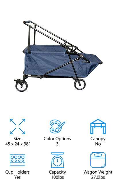 The last entry on our list is the best folding wagon for beach use, because of how easy it is to move across sandy surfaces. It comes in blue, camouflage, and red colors so it's a perfect fit for everyone! It folds down flat for storage in a closet or in the trunk of most cars. It's great to have around in case you need to haul a lot of groceries, beach fun accessories, or picnic fixings. The sides are made of heavy-duty polyester that won't be easily damaged. You can carry up to 100 pounds of stuff at a time, which is a lot! It has a steel frame that is both durable and flexible to enable it to fold down perfectly every time. You won't need to assemble it even when you first buy it, as it's done for you. There are even two mesh fabric bottle holders to keep your drinks within reach!
