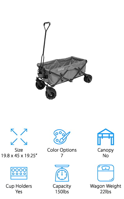 Creative Outdoor Distributors offer this Wagon with unique color options and lots of space, including storage space! The wheels are 4 inches wide and can swivel up to 360 degrees, so it's easy to steer and plow through even sand and snow. The frame is made of steel that easily folds down when not in use and locks in place when it is. It comes in camouflage, purple, a purple/grey combination, bright yellow, and even a blue color with paw prints all over it for hauling dogs or your dog's stuff! There are six pockets located along the inside that can hold phones, keys, and even drinks. It comes with a storage sleeve to keep the fabric nice if you have to store it for a longer period of time. The fabric is super durable and can be removed for washing under the hose. We love all the pockets, and that the fabric can be cleaned separately!