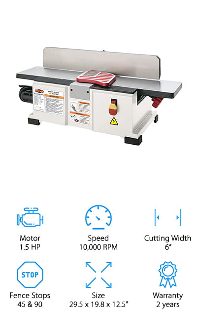 "This moderately priced Shop Fox benchtop jointer offers a 1 ½ HP motor with 110 volts and 12 amps. The single phase motor powers the cutter head up to 10,000 RPM and 20,000 cuts per minute. There is a 2 knife HSS cutter head which offers clean and sharp cuts as well as providing you with durability and strength. When the cutters need to be swapped out you'll have no problem switching them and you'll definitely appreciate the fully adjustable fence that includes all the stops you should need. There's a 2 1/2 "" dust port that helps you get rid of all the dust and debris so you can be comfortable in your workspace without having to worry about breathing it in. You'll also get the safety push blocks you need to work and there's a built-in dust collection fan and bag so everything is included together to keep things neat."