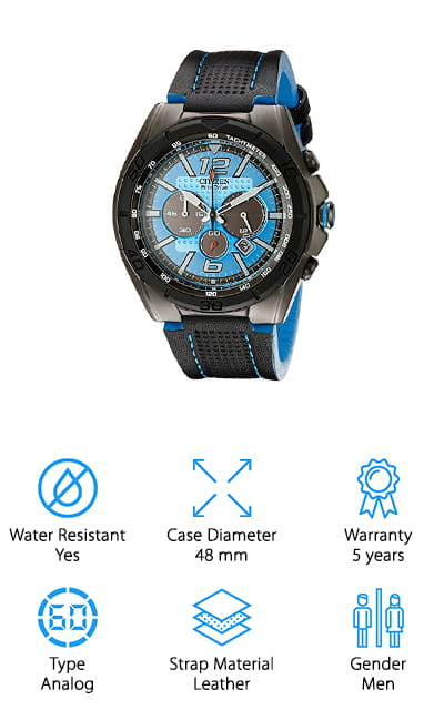 The bright pop of blue in the face as well as in the backing of the band definitely add some fun to this watch. It uses black ion plated stainless steel with the blue dial and has a 60 minute chronograph. The watch itself is powered by mineral crystal and is water resistant to 100 meters, which means you can even take it snorkeling or swimming, though it's not rated for diving. This moderately priced watch is powered by a company that's well known in the watch industry. The 48 mm diameter and leather strap meant that it's large enough and durable enough to withstand just about anything. You won't have a problem wearing it for just about any occasion from casual to outdoors to even nicer occasion because of the classy design.
