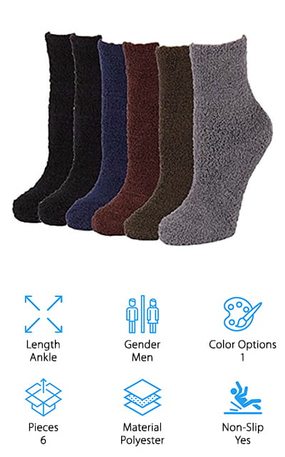 These non-slip socks are great for just about anything you want, from wandering through the house to sleeping or even going out for those fun cold-weather activities. They're made of polyester and spandex and are completely machine washable, which is a great benefit to keep everything clean. These socks come in 5 different colors and you'll get a set of 6 socks with each set. Soft and lightweight, they're still great for keeping you warm. Made of polyester and spandex they're made to never slip down your leg but to stay right where you want. Super lightweight, these are some socks you're definitely not going to want to miss out on. You'll want to check out how these socks are going to make for a great evening for you or a great gift for your friends and family. No matter what you're planning, you're definitely going to have plenty of options here.