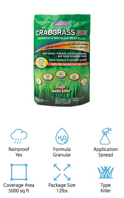 This BONIDE Crabgrass Weed Killer prevents and kills crabgrass, as well as several varieties of other broadleaf weeds. You can use it to treat both northern and southern kinds of grass without any repercussions, as it only works on the weeds and not your grass. It kills these weeds at several different stages of development, to get the weeds no matter how old they are. It's formulated specifically to help you control even mature crabgrass. Worried about getting your lawn treated early in the season? You don't have to anymore! This killer will make it easy. It is a lightweight formula that helps it stick to the leaves and make its way to the root s- where it wither them. It's one of the best crabgrass killers for lawns. It's worth noting that it doesn't work on Centipede or St Augustine grass, as it will adversely affect them. Take the guesswork out of preventing and killing your weeds with this formula!