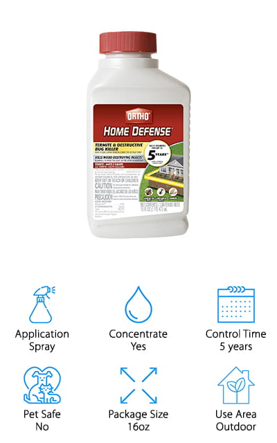 Ortho is one of the best-known names in controlling weeds, insects, and other pests that you don't want invading your home, lawn, and life. This particular product is an extremely concentrated termite and destructive insect killer. When it's used as a trenching treatment, where it's planted specifically in trenches around your property, it boasts that it will keep termites away for 5 full years. That's pretty amazing! Spray it around your home's foundation, on wooden structures, and it will work to keep away subterranean termites and carpenter ants. Mix in a sprayer with water, and this 16-ounce bottle will yield five gallons of spray! It's an amazing value for that yield. If you have a smaller termite problem or a smaller property, this spray will last you for a long time. Even without using this spray as a trenching treatment, it will last for the season so you don't have to worry about keeping it applied!