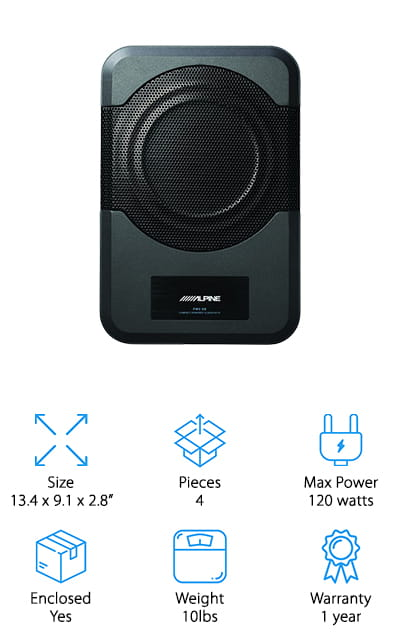 This Alpine Subwoofer is an 8-inch device with a built-in 120-watt amplifier. Both are enclosed in an aluminum box that helps you get the maximum amount of bass in as small a space as possible. It is super compact, so it's easy to install either under a seat or behind them, in a trunk, or in a hatchback's rear trunk area. On the side panel are the controls for a bunch of different sound-enhancing options, including Phase, Gain, Crossover, and Remote Sublevels. You can use either an RCA input or an Auto-Sensing input that will turn the subwoofer on automatically if your head unit broadcasts an audio signal. It responds to frequencies between 32Hz and 150Hz, which is a pretty amazing range for the 120 watts that it takes. Get your music sounding great with bass that will rock your whole cab with this great device! It's the best powered subwoofer that is small enough to fit anywhere!