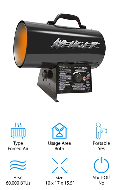 The Avenger Portable Heater is a forced air heater that can stand up to abuse! It's got a heavy-duty construction that won't easily be damaged. It's finished in black powder for added durability. You can adjust the heat angle for convenience, which is great on the job at a construction site or warehouse. It can put out almost 60,000 BTUs. Even the best propane heater for home use doesn't match that power! It is recommended to use forced air type heaters in vented outdoor spaces, or spaces that are not tightly enclosed. The push-button ignition eliminates the need for a lighter or matches and burns quietly without any further tinkering. The motor is thermally protected, so the constant heat will not affect how the unit works. The variable heat settings allow you to turn it up or down as you see fit, depending on the heat that you need. We love how powerful this little unit is!