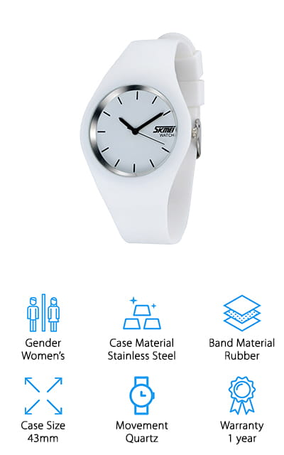 This Gosasa Women's Sport Watch is a sleek, beautifully designed watch for women. It's all in white, with a stainless steel case nestled in a rubber band. If you've been looking at simple ladies waterproof watches, this is the one for you! It tells analog time with no digital components, so there's nothing to fiddle with; just set the watch and you're good to go! The rubber band protects the face so it's shock resistant for sports or outdoor activities. It's also great as an everyday watch, and since it is white it will match nearly any outfit! For people who enjoy simple watches and an elegant, minimalist design, this is the perfect watch. And of course, it's waterproof! Take it swimming with you, and don't be afraid to wear it in the shower or when washing your hands. This little watch is tough! The face is crystal clear, so you always know the time!