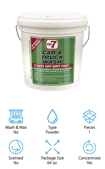 Our car wash soap reviews wouldn't be complete without No7's powder car wash, a favorite of car detailers and gear-heads for decades! This powder comes in a 4 lb. bucket that will last for years because it's a shelf-stable powder that won't dry out like liquid soaps will over time. You can stock up without worry! We like this wash because it's super effective at removing dirt from just about any surface, including wood, vinyl, windows, and more. This is great because you can use this cleaner for way more than just cars. It also does well cleaning trucks, boats, RVs, and even your home exterior or wood deck! The powder mixes into water, and you can use it with a bucket and rag, or add it to your foam machine and let it do the work. We also like that this cleaner will get things super clean, but won't remove the wax finish you've worked so hard to keep!