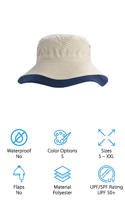 If you're looking for XXL men's sun hats, this reversible hat from Coolibar is perfect, for even the largest heads! Once you choose a size, the hat also has a drawstring to adjust the size to create a custom fit! They come in 5 different color combinations – but since they're reversible, you're practically buying 2 for the price of 1! The polyester hat protects your head from the sun and is lightweight enough to keep you cool. For a bucket hat, this has a large brim that will also protect your neck from the sun! The wrinkle-resistant fabric will stay nice, even if you fold it into your luggage or pocket. It's also easy to clean – just hand wash, then line dry it to keep the colors and fabric looking like new! If you don't like the look of safari-style hats, this sun hat has a more modern look that is perfect for casual boat outings, fishing trips, and more.
