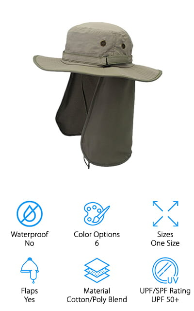 We end our men's sun hat review with a unisex hat from Home Prefer. This hat comes in 6 colors, so you can buy a different color for each member of the family! The hat comes with a Velcro strap around the head to adjust the size, so heads large and small can find a perfect fit. The cotton/polyester blend is soft and comfortable, but light enough to keep your head nice and cool. The 3-inch brim is plenty large enough to keep your face and neck protected from the harsh sun. However, if you need some extra neck protection, it also comes with an 11-inch neck flap that rolls up easily into the brim of the hat when not needed. When traveling, the hat can be folded or laid flat to save space. We also love that this sun hat is machine washable – a major plus if you plan to get sweaty and dirty while hunting, hiking, or gardening!