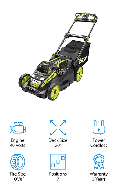 The last electric self propelled mower we wanted to feature in our guide is this powerful model from Ryobi, another familiar brand among home gardeners. This battery-powered mower packs a powerful motor that rivals any gas-powered motor without all the noise and exhaust pollution. It comes with a charger and 5.0 Ah battery, which is plenty to handle mowing a medium sized yard with just one charge. The 2-in-1 mulch and bag settings allow you to get your yard work done with almost no mess, thanks to a large bag! We also like that the handle is a telescopic version that you can set to whatever height is best for you. This means you can mow with less fatigue, especially if you're exceptionally short or tall! Other convenient features include a push button starter, 7-position deck, and LED headlights. If you're looking for a battery-powered mower that's powerful, comfortable to use, and environmentally friendly, definitely check this one out!