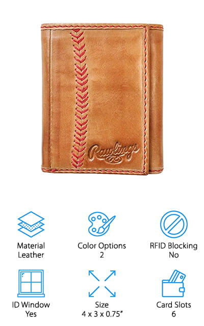 The final review we have for you is the Rawlings trifold wallet – the perfect gift for all of the baseball fans in your life! This gorgeous wallet is made in the U.S.A. with the same high-quality vintage leather their baseball mitts are made of, and it comes in either a light or dark brown to match your style (or your trusty old mitt). The classic red baseball stitching around the wallet, and the herringbone stitching on the front are just like the baseball you threw around as a kid. In addition to being a beautiful wallet, it also holds a lot! It has 6 card slots, 2 larger slots, a large bill compartment, and an ID window to keep your cards, cash, and baseball tickets safe and easy to access! Much like your trusty mitt, this may take a little while to break in – but don't worry! Just like your mitt, it will be well worth the time and effort!