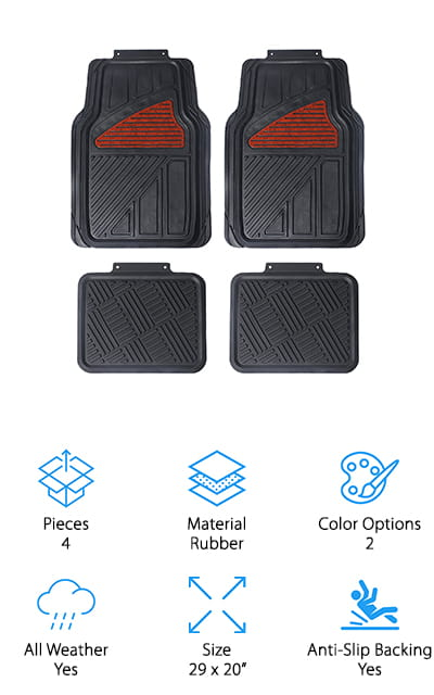 In our hunt for the best floor mats for sale, we ran across these beautiful rubber car mats from Maggift. The heavy-duty rubber mats are built like a shallow tray with thick grooves to catch any dirt or water you bring into the car. The front covers also have grooves around the edges to easily trim them to size without compromising the ability to contain water, mud, or dirt. One feature we really like is the faux wood grain pattern on the front heel rests. They are a nice touch that adds a bit of luxury to your car's interior. You can also get them with a silver heel pad to match the chrome detailing in your car! Another great thing is they're odorless, which is good for both the environment and your nose! These strong, flexible mats have anti-slip backing to form to stay put. Pick a set up for you, or grab a set as a gift!