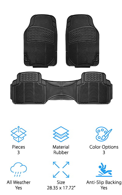 Our final review is for a 3-piece set of car mats from Copap. This set is made of 100% heavy-duty rubber that can stand up to dirt, snow, mud, and extreme temperatures with ease. All of the mats have deep channels that send dirt and water away from your car's upholstery. To clean, just remove and brush off or wipe down with a damp cloth. No worries about hanging carpeted mats to dry – just towel them off and put them back! The anti-slip backing is tough enough to keep your mats in place, even with matted down or old carpeting. We also like that these come with grooves you can cut around to customize the fit of all 4 mats. Oh, and they come in 3 colors to match up with your interior – or contrast it for some extra visual interest! We think these will easily get you through the winter, hiking season, or messy years with kids and pets!