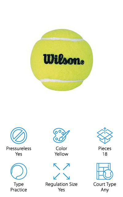 If you're looking for practice tennis balls that can take a beating, consider picking up this set from Wilson! These pressureless tennis balls are made of high-quality, durable rubber that won't lose its bounce – even after hours of practice and rough playing time. We also think these are some of the best tennis balls for using in a machine. The hard rubber inside and tough felt outer covering are made to withstand the pressure, friction, and overall abuse of being put through a tennis ball machine. They also make a great toy for dogs, especially ones with strong jaws and a love of chewing! We also like that this set of 18 tennis balls comes with a reusable mesh bag, so you can round up your practice balls and toss them in your bag or car without them getting loose! These would make a great gift for a beginner tennis player, or grab a bag for your own practice session!