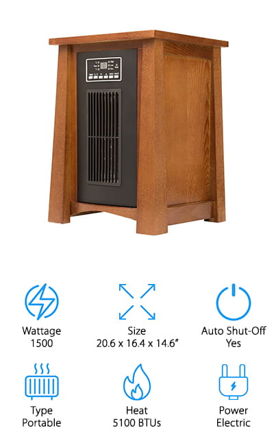 Last up in our infrared heater reviews is a portable heater that looks so good, you might mistake it for a gorgeous wooden side table! This dark oak heater is encased in wood, which helps it blend into your décor seamlessly! It also puts out a lot of heat, too! With 3 quartz tubes, you can adjust the settings to either low, high, or an eco setting to keep your room warm without wasting extra energy. You can also adjust the temperature to exactly where you want it, too! We also like that you can set the timer to shut off whenever you want, from 1 to 12 hours. It comes with a handy remote, so you can change modes or adjust the temperature from anywhere in the room. If you want a heater for your small living space or office that blends in with your other wood furniture, this is a great option for just about any small space!