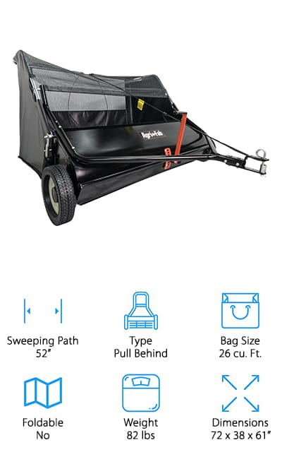 "Last up in our best lawn sweeper reviews is the Agri-Fab Tow Behind Lawn Sweeper. This is a 52"" lawn sweeper, the widest of any that we researched. What does that mean for you? Fewer passes so you can get your work done faster. Not to mention, the universal hitch allows you to attach it to any tractor. A sealed bearing brush shaft and large 12 by 2.5 inch wheels help it move fast and smoothly, too. The bag is pretty large so you don't have to empty it as often and you can actually use the rope pull to empty the hopper right from the tractor seat. Plus, it's really easy to adjust the height and, once you get it right, it stays in place with no slipping."