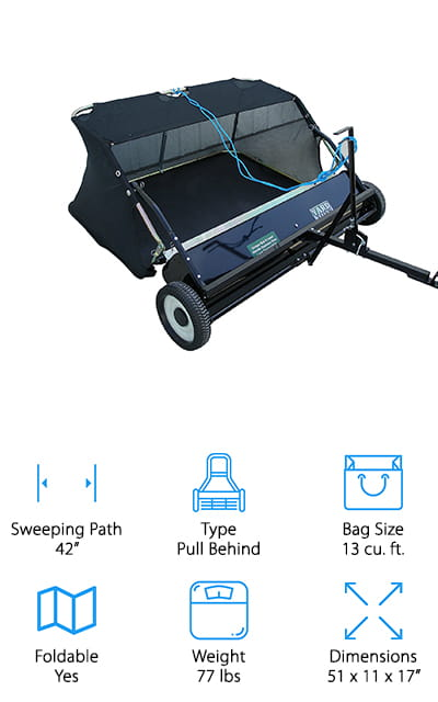 "Another choice for best rated lawn sweeper is this one from Yard Tuff. This pull behind design has a 42-inch wide sweeping path and 4 different brushes. You can quickly and easily adjust their height with a simple lever. And get this: you can even adjust it right from your tractor seat. You can empty the bag from a seated position, too. Assembly is quick and so is attaching it to your tractor. The universal pin-style hitch easily attaches to most models. That's not all, the frame is made of powder-coated steel to protect it from the elements so it lasts a long time. Large 10.5"" solid poly tires help you move across various terrain with ease. And one more thing, it even comes with a 1-year manufacturer's warranty."