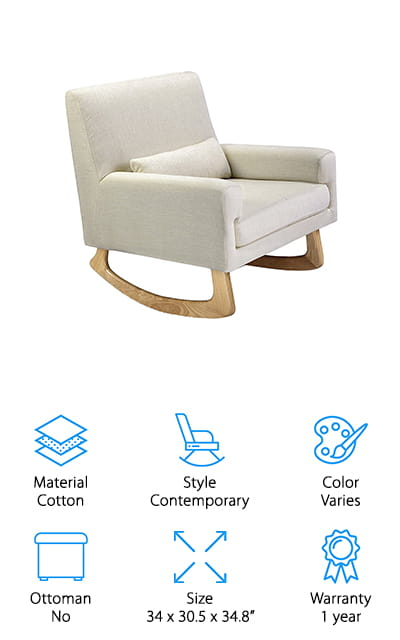 Last on our list is another stylish, contemporary design. This one is the Nursery Works Sleepytime Rocker. The legs are made of ash hardwood and topped with a gorgeous seat with upholstery made of a polyester blend. It's free of chemical flame retardants so it's perfectly safe for baby. This chair is available in 5 different designs that are combinations of 2 different leg styles and light grey, charcoal, oatmeal, and pebble upholstery. And get this: it's actually upholstered by hand. Actually, the whole thing is made by hand. For those long nights with a fussy baby, you'll love the removable lumbar pillow, too. This is a high quality piece of furniture that you'll use long after you need it in the nursery. It's stylish enough to use in any room of your home.
