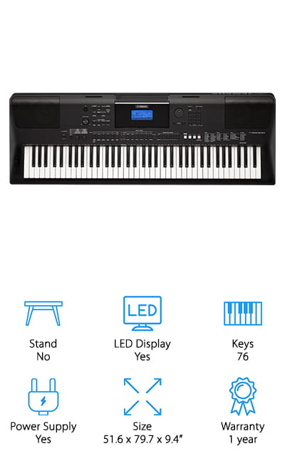 One of the best electronic keyboards for learning piano is the Yamaha PSREW400. You can really do a lot with this keyboard. There are 2 knobs that you can assign sounds to in order to do real-time manipulation by adding various effects. You also have a lot of instrument sounds to choose from with this keyboard. They're all high quality and sound very realistic. And get this, because there's an audio transfer that works with a USB port, you can actually digitally record yourself directly onto your computer or iOS device. How cool is that?! Then, you can even play the audio back through the keyboard speakers, allowing you to add different instruments and build different levels to your recording.