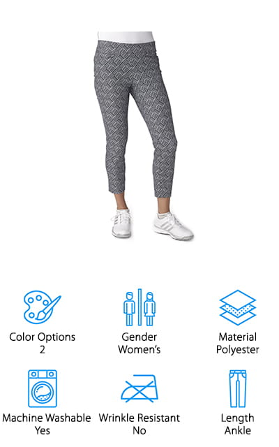 If you're a lady looking for some fancy golf pants, you're in luck because adidas is here for you. These slim fit, ankle length pants are available in sizes XS to XL. They're made out of stretchy, woven material that gives you a clean, stylish silhouette. They're really comfortable, too. Something you'll really like about them is the waistband. The inner waistband is flattering and comfortable because it keeps its shape but also moves with you. This fabric wicks away moisture to keep you dry and cool. We love the prints that you get to choose from with these pants. In fact, they're the only women's pants in our list that aren't just plain black. Choose from a black and white basketweave pattern or white roses and polka dots on a blue background.