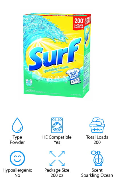 Surf has been in the laundry detergent business for a long time, so you can be sure that they have perfected the formula to bring you the best clean you can get from a powder detergent. There is enough powder in this package to get you 200 loads of laundry done. It leaves your clothes smelling fresh because the Sparkling Ocean scent is soft and clean. Get even those set-in odors out of your favorite clothes! It comes with a scoop so you can get the perfect measurement and pre-treatment amounts, so there's no more guesswork! It works wonderfully on tough stains, even ones that are dried or stuck on. What's better is that the scent lingers so your clothes remain smelling great right up until you decide to wear them. That's a pretty good deal! It's good for all washing machine styles and is compatible with high-efficiency washers. We love how powerful this powder detergent is!