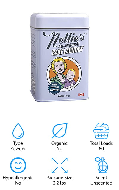 The last product on our list is baby soap for clothes of all types. Nellie's All Natural is a powder product, and one package is just over two pounds. You can get 80 loads out of this powder if you use as directed. It's gentle and leaves no residue, has no fragrance, and is free from all of the harsh chemicals that you don't want to ever touch your baby's skin. The company professes that it doesn't like to move water around and that it isn't fair to sell you water – when you can get a higher concentration of cleaning power from powder detergent, in a much smaller space. We love their dedication to their values! The plant-based formula is great for sensitive skin and for washing cloth diapers and other heavily-stained articles of clothing. It uses these natural ingredients to brighten clothes as well! You can't beat the power and eco-conscious design of this detergent!