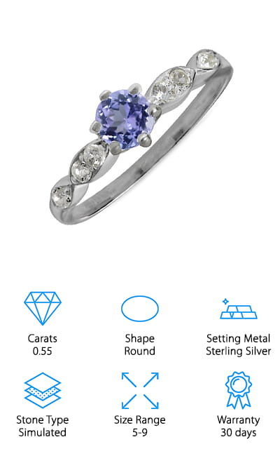Silvershake Tanzanite Engagement Ring