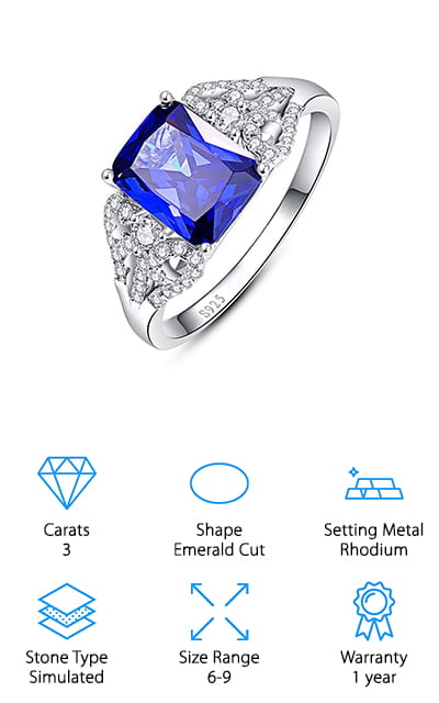 This ring is huge and beautiful. The emerald-cut tanzanite that is the center of this ring makes up the majority of the 3 carats, while the smaller cubic zirconia stones weave down the sides of the band and sparkle serenely. This ring is plated in rhodium, so it will sparkle and shine for a long time while maintaining its color (and not leaving any on your finger). It comes with a year-long warranty that is a really good deal, as well as a jewelry bag and a ring box to present it in. It can double as a birthstone ring and an engagement ring. And it's completely free of nickel! We love the design of this ring, which is pretty unique on our list. It's pleasing to the eye and perfectly catches the light to give you the perfect amount of beauty to go with anything you choose to wear. You aren't ever going to want to take it off!