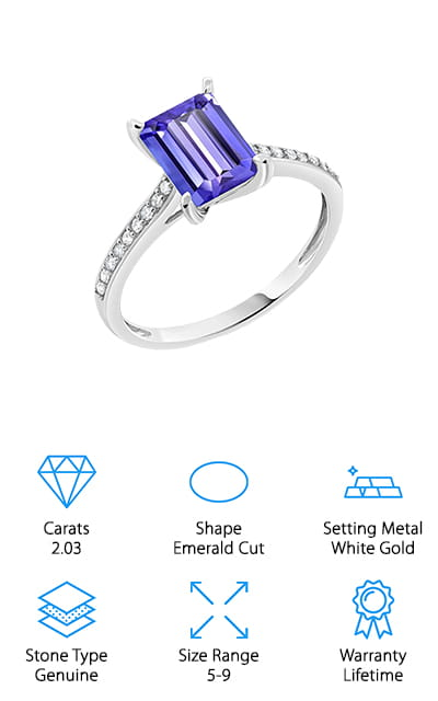 Gem Stone King Tanzanite Solitaire Ring