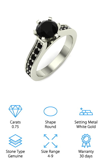 Glitz Design Black Diamond Ring
