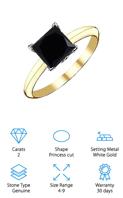 Jascina Black Solitaire Ring
