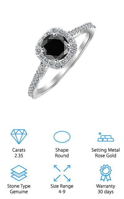 This piece of real diamond jewelry from Houston Diamond District is as beautiful as it is complex. A combined 2.35 carats of weight encompasses a large round center black diamond that is a brilliant cut. The halo of white diamonds are all genuine as well, as well as the diamonds set into the bad down the sides. This particular version of this ring is set in beautiful rose gold, and it adds a whole other dimension to the look and feel of this ring – we love that! The diamonds are conflict free and entirely genuine. This heirloom-quality piece is sure to be in your family for generations to come – and you can start the story here. The rose gold that the band and the settings are made of is stunning 14 karat gold, so it will shine just as much as the diamonds will! These clear, beautiful stones will definitely set your loved one apart from the rest!