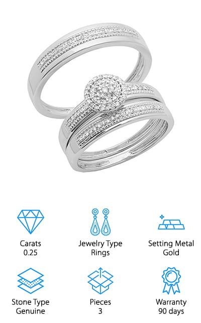 Dazzling Rock Diamond Bridal Set