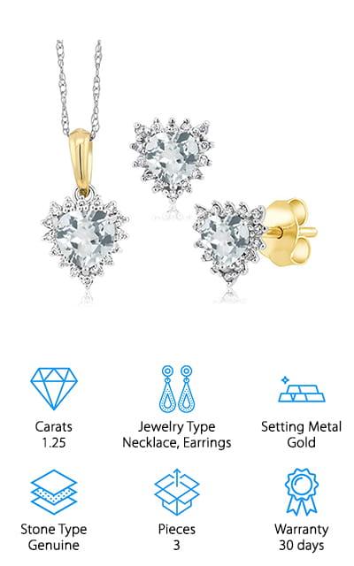 Gem Stone King Aquamarine Diamond Set