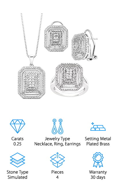 When you buy diamond jewelry online, it usually doesn't arrive looking even better than it does in the picture. This set is the exception to that rule. It consists of a necklace, a ring, and a pair of earrings. Each is got a mountain of diamonds piled on a white gold-plated brass base. There are so many diamonds in each of these faces that it is quite beautiful and overwhelming to look at. They are perfect for a fancier outfit, or to spice up one that you think might not be fancy enough! The diamonds are set in 14 karats white gold-plated brass, which shows off the best attributes of each one. It's what is referred to as a 'framed cushion' design and it's actually quite popular. The pendant is hanging on a beautiful 14 karat white gold plated box chain with a spring ring clasp. It's a gorgeous touch to an already amazing set!