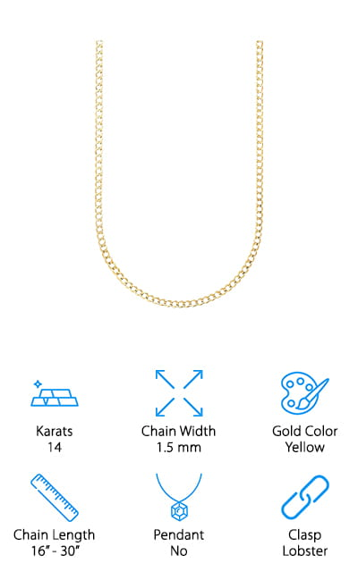 Pori Jewelers Cuban Curb Link Chain