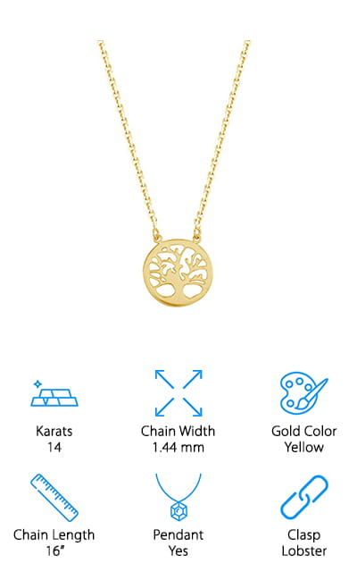 Speaking of real gold chains with pendants, this Tree of Life necklace is a wonderful example of one! The pendant is made of the same 14 karats yellow gold as the rest of the chain, which is in the cable chain style. The pendant is delicate and small, which is perfect – it isn't gaudy or overdone. From side to side, it's about a half-inch wide. It's dainty and perfect! The clasp is a lobster clasp so you never have to worry about the pendant falling off. The cable chain is beautifully constructed, and while it's still considered a thin chain, it's just thick enough to not get caught in your hair, which is a marvelous feature! The chain itself is adjustable, and you can take it from the 16 inches it normally comes into about 18 inches if you so desire. This design is simply gorgeous and will go with just about any outfit for any occasion!
