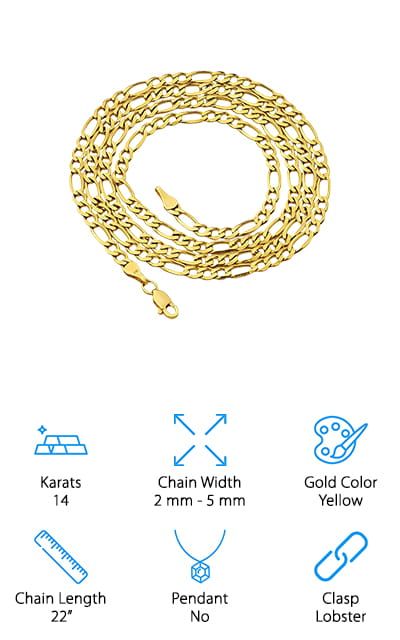 LoveBling Gold Figaro Chain