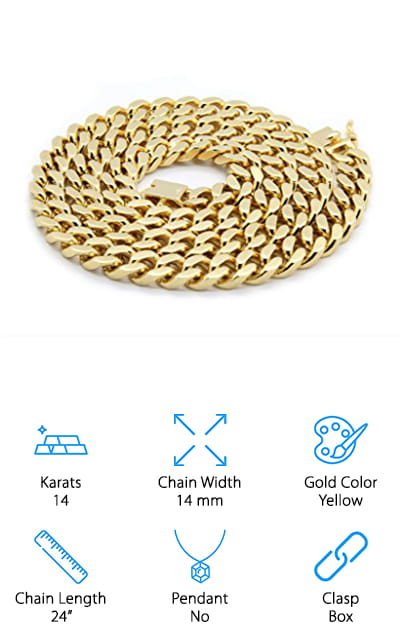 Hollywood Jewelry Cuban Link Chain