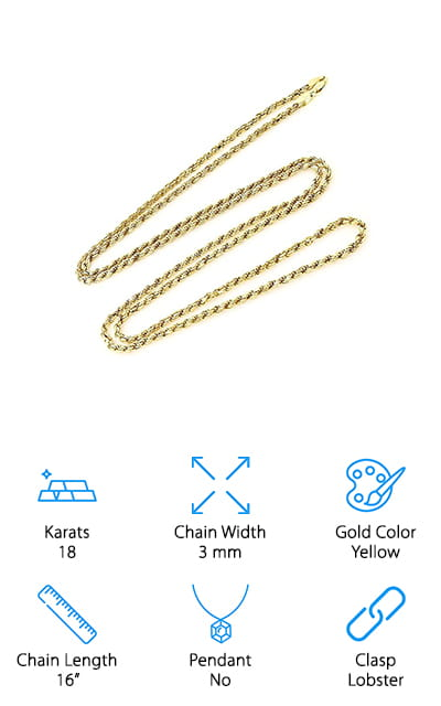This Pori Jewelers Diamond Cut Rope Chain is the perfect gift for the man in your life that likes gold but doesn't want something huge or gaudy. The 3 mm thickness is just the right size to be substantial without being huge, for someone who wants a more subtle option. It comes in lengths anywhere from 16 to 30 inches, so you can get your perfect fit. The lobster lock closes securely and keeps your chain around your neck. It comes with tidy gift packaging so you can send it to that special someone- or keep it for yourself! The metal is completely hypoallergenic and free of lead and nickel so it won't turn your neck even if you're sensitive to metals. It's a great basic rope chain that will get a collection started – and one of the greatest men's gold chains for sale on our list! We just love how simple this chain is!