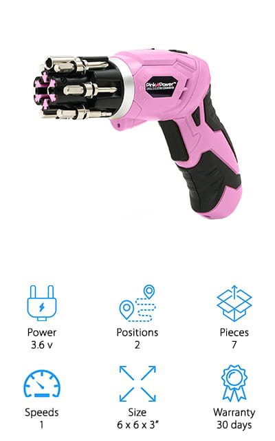 Pink Power Cordless Screwdriver