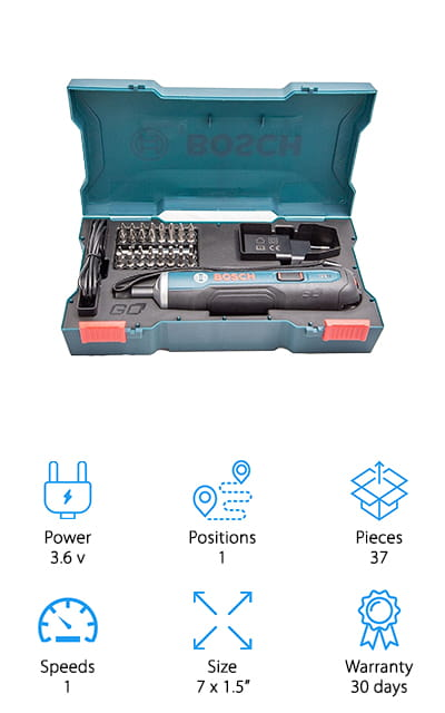 This Bosch cordless screwdriver review saves the best for last! This miniature precision screwdriver comes with a 33-piece kit. All of these pieces are well-made from a company that excels at this job. They boast that it packs an amazing 4 times more power than other screwdrivers in its size. That's amazing! What's really unique about this piece is the unique operation – it's incredibly intuitive. You only need to push forward to drive screws, and you can clutch it when you want to stop. That's an amazing bit of technology, and makes the operation so much smoother! You can charge with a USB cord, for the utmost convenience. The 33 pieces in the kit include different sizes of drill bits that you can use with the device. It just might be the best Bosch cordless screwdriver overall! This thing might be small, but it packs an amazing amount of power. Your household can only benefit from having one of these around.