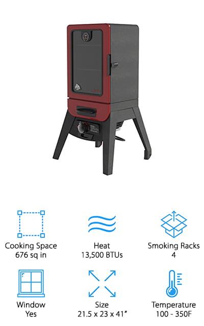 This vertical gas smoker from Pit Boxx will consistently deliver delicious food! It comes with four cooking grids that are coated with porcelain to help maintain heat. There are two separate stainless steel burners – the cabinet output is 10,000 BTUs, while the wood chip burner can get up to 3,500 BTUs. We love that the wood chips have their own heat rating! That's pretty amazing. You can get to the wood tray and the grease trap from the outside of the device without having to get into the really hot portions. The most unique part of this smoker, however, rests in the viewing window. This large gas smoker is almost completely viewable from the outside, due to the large viewing window that covers most of the cooking cabinet. It's perfect for people who like to babysit their meat while it's cooking. The dual valve is an amazing feature! We are sure that the people you cook for will love it!