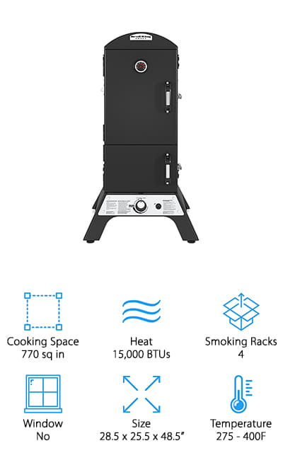 The last propane gas smoker on our list is the Broil King Smoke model. It features 770 square inches of cooking space, which is spread over the 4 stainless steel cooking racks. The damper system is extremely advanced, allowing you to create a perfect selection of meat without burning it. There are meat hooks on the roof of the cabinet that you can use to hang sausages or other thin cuts of meat. The temperature gauge on the outside of the cabinet perfectly reflects the internal cooking temperature, so you can be sure that it's doing exactly what you need it to! There are tool hooks on the outside of the unit, which we really love! It frees up a lot of tabletop space around your smoker when your hands are already full. It's a great smoking cabinet for the advanced chef that knows what they want and what they're doing. If that's you, you're going to love this smoker!