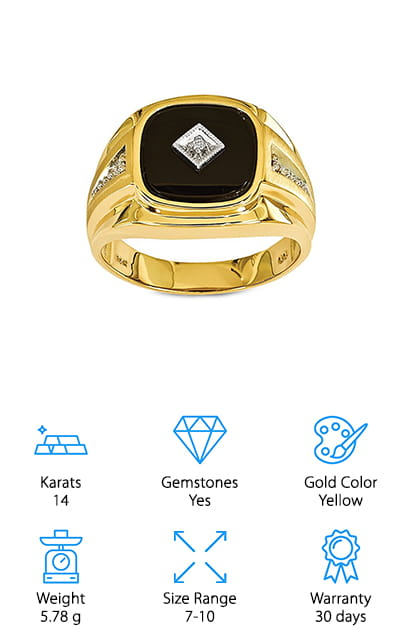 Qgold Gold Diamond Onyx Ring