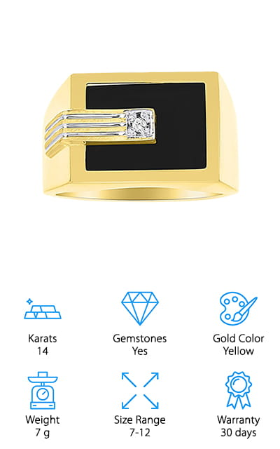 Rylos Diamond & Onyx Ring