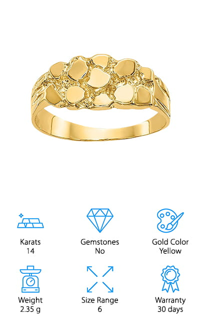 Diamond2Deal Gold Nugget Ring